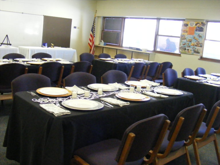 Have a smaller group for a semi-formal event? Our meeting rooms can be used for all types of events! Pictured here is the set up for a beautiful anniversary dinner.