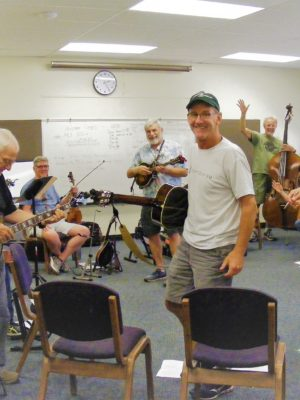 Featured here is Steve Hanson's Bluegrass Camp enjoying use of our meeting room for their practice sessions